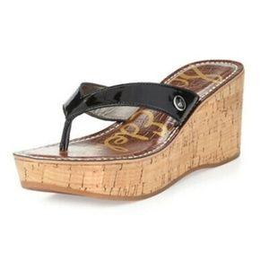 Sam Edelman Romy Black Patent Cork Wedge Sandal